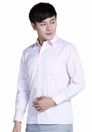 粉色全棉休闲商务长袖衬衫